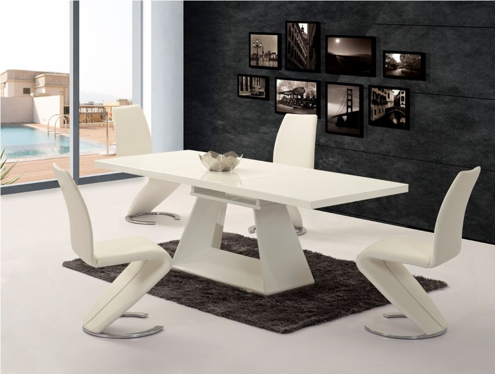 GA Silvano EXTENDING White Gloss 160/220cm Dining Table U0026 Luciano Chairs ... Part 47
